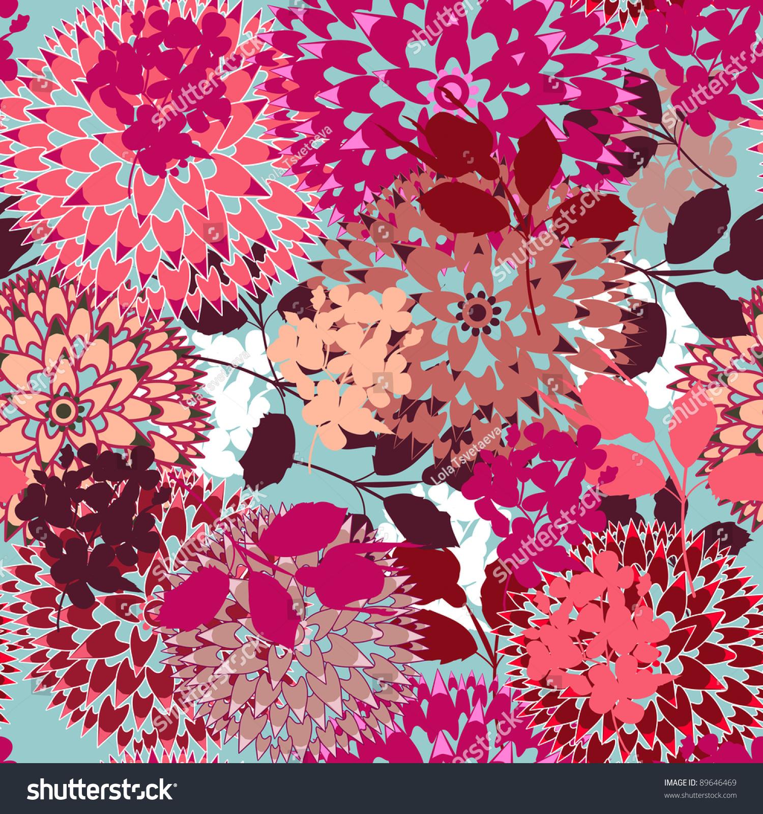 Bright Floral Pattern Stock Vector Illustration 89646469 ...