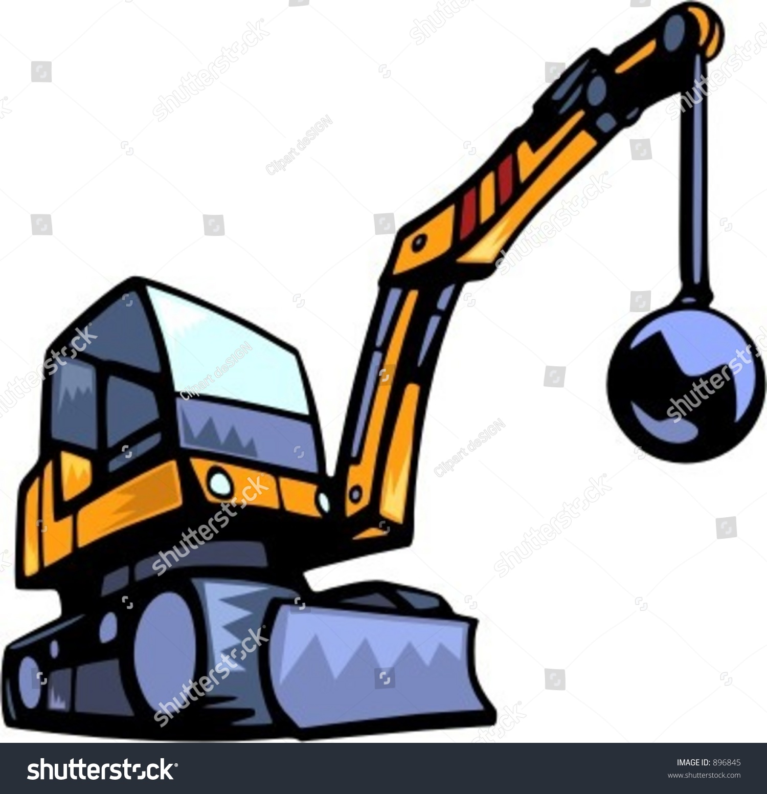 Building Demolition Cartoon : Demolition vehiclevector illustration stock vector