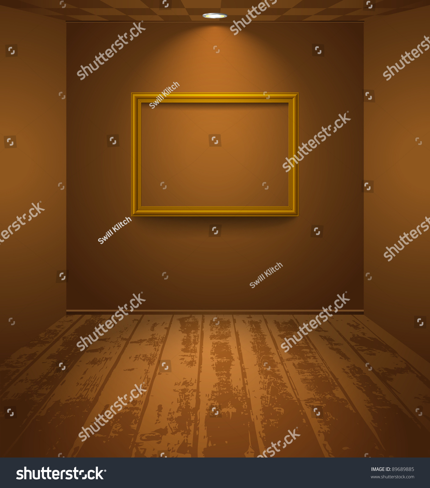 empty frame in a brown room with wooden floor