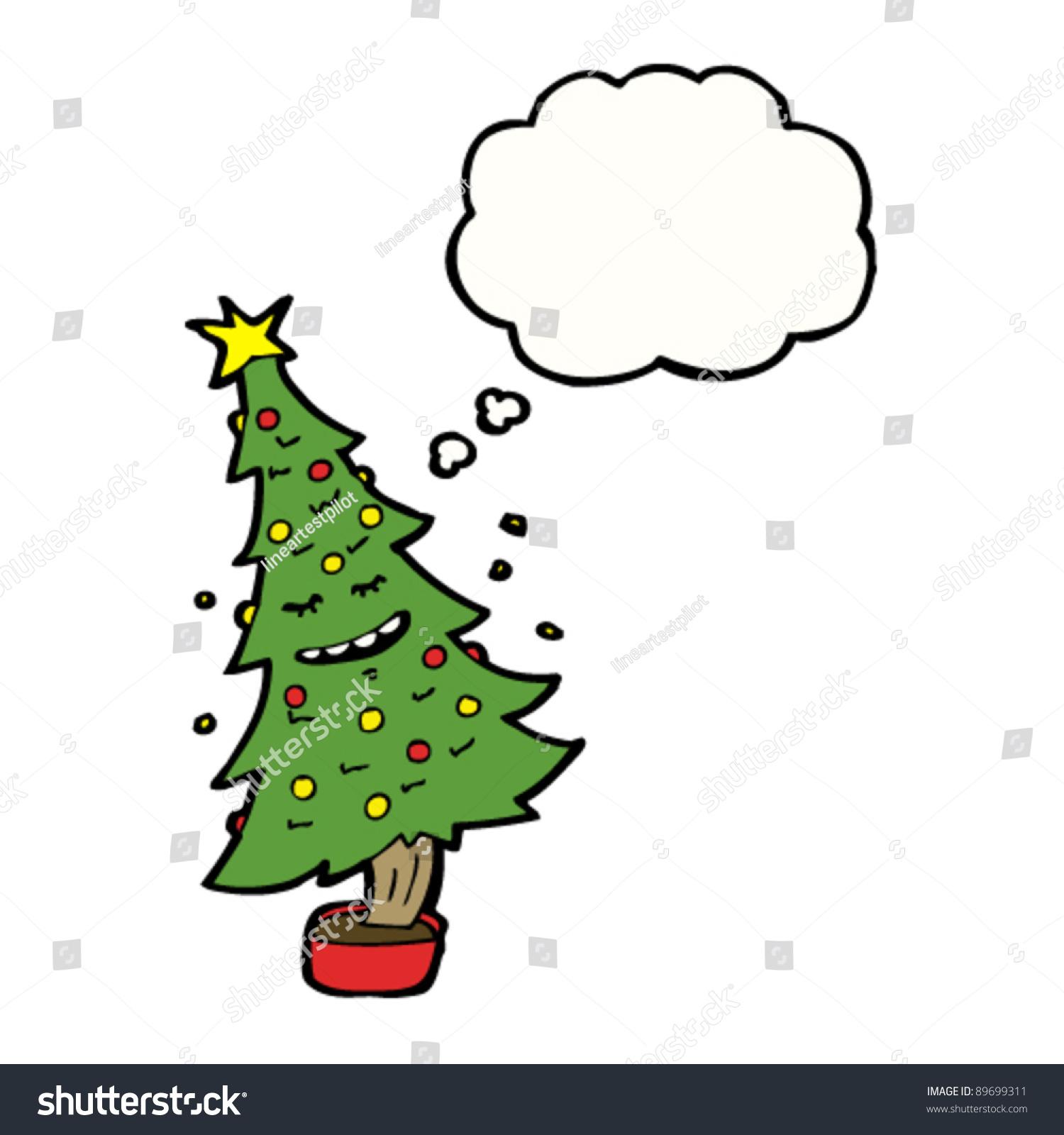 dancing christmas tree cartoon character stock vector 89699311