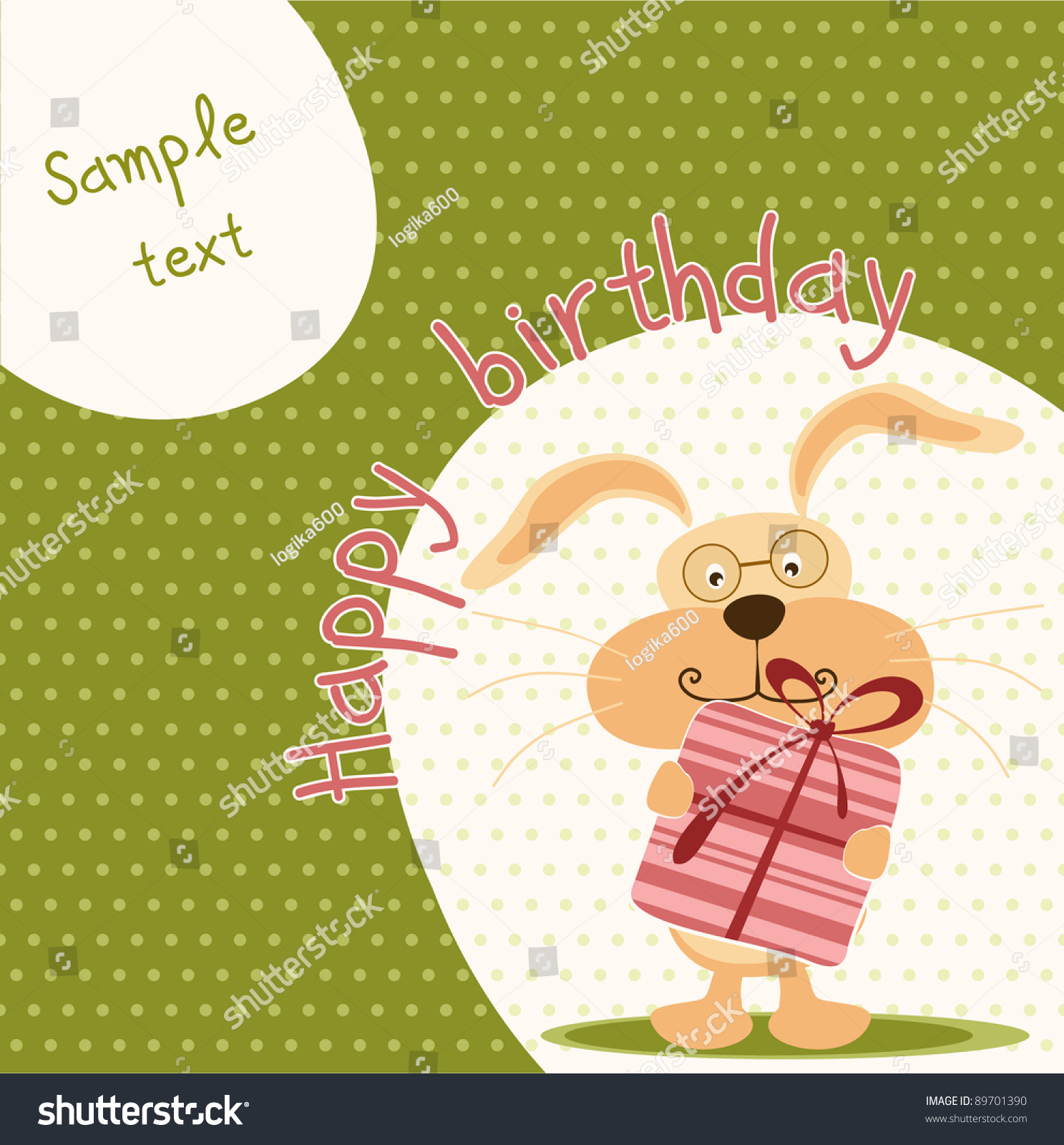 Happy Birthday Card Cute Bunny Stock Vector Shutterstock