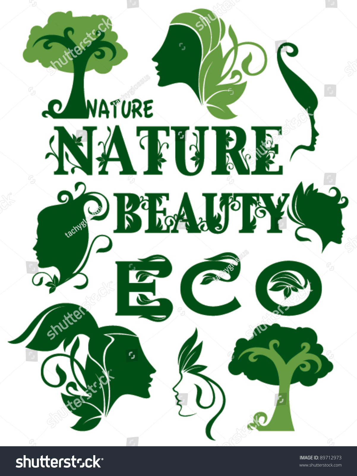 Collection Ecological Symbols Symbols Beauty Care Stock Vector