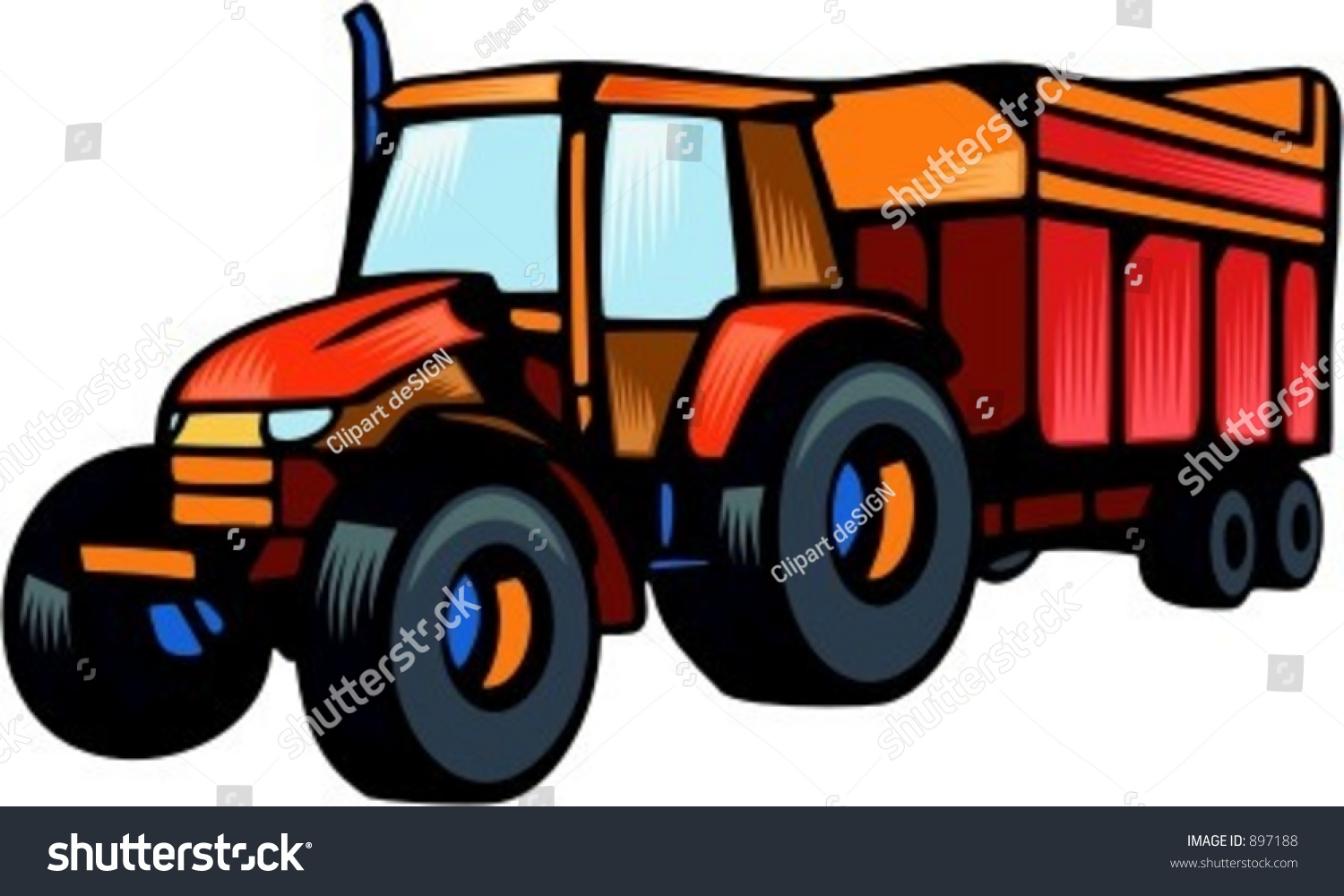 Tractor Trailer Clip Art : Tractor carrying trailervector illustration stock vector