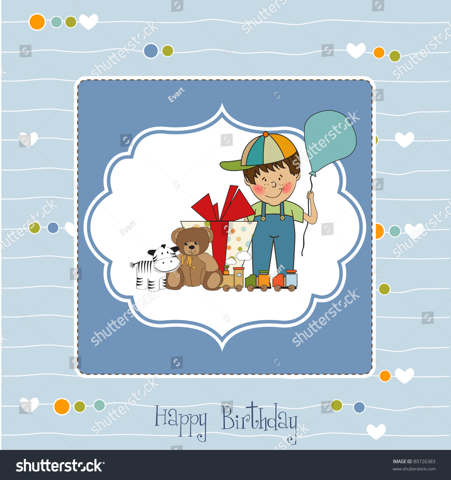 Birthday Greeting Card Little Boy Presents Stock Vector 89726383