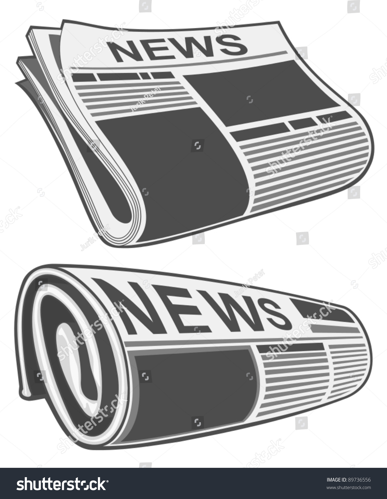 rolled newspaper vector stock vector (royalty free) 89736556