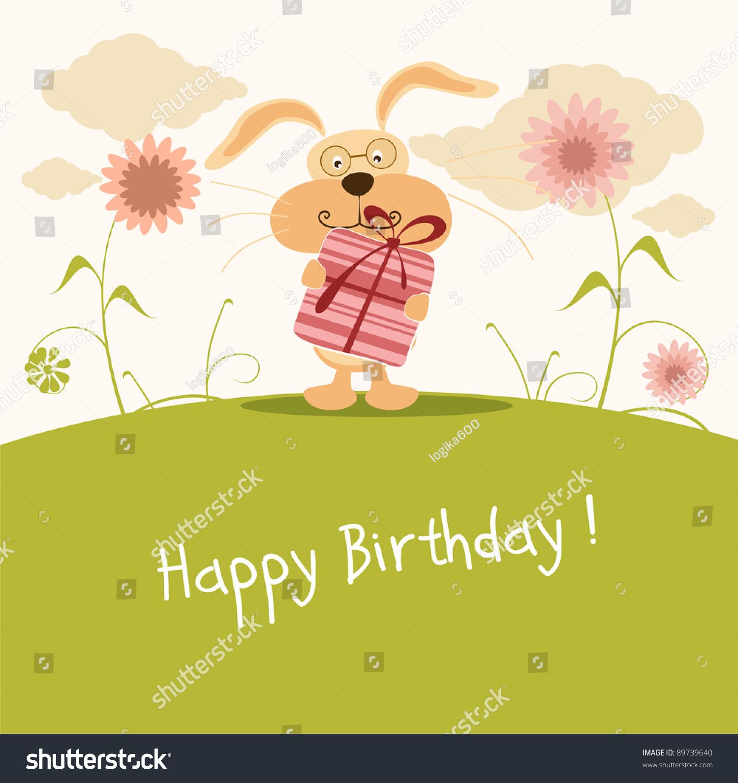 Happy Birthday Card Cute Bunny Vector 89739640 Shutterstock – Happy Birthday Cards Cute
