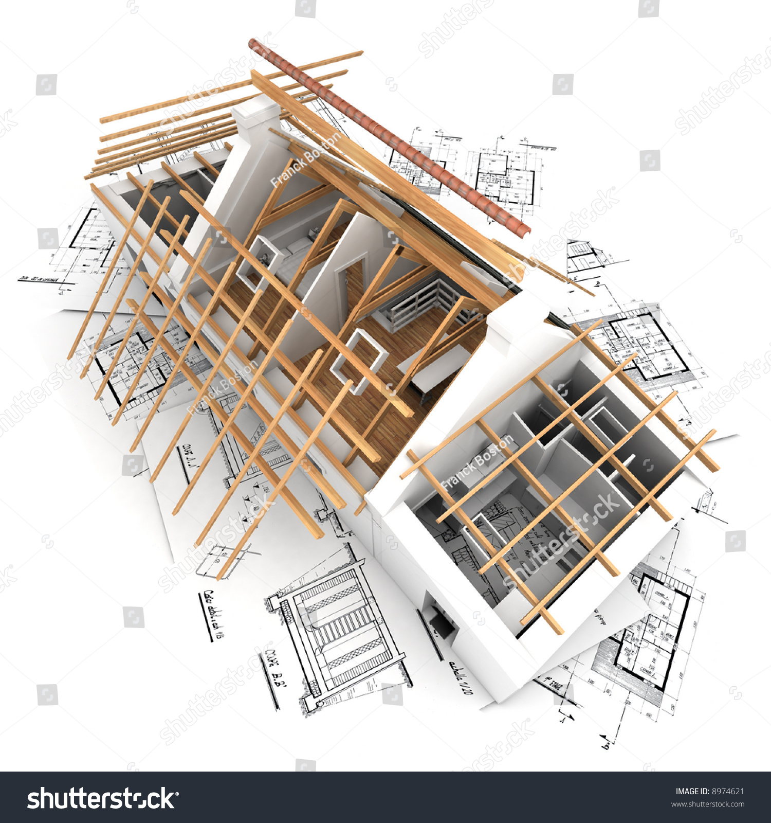 3d rendering house process roof construction stock illustration
