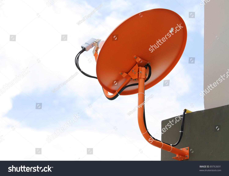 satellite dish antenna on blue sky stock photo 89763691. Black Bedroom Furniture Sets. Home Design Ideas