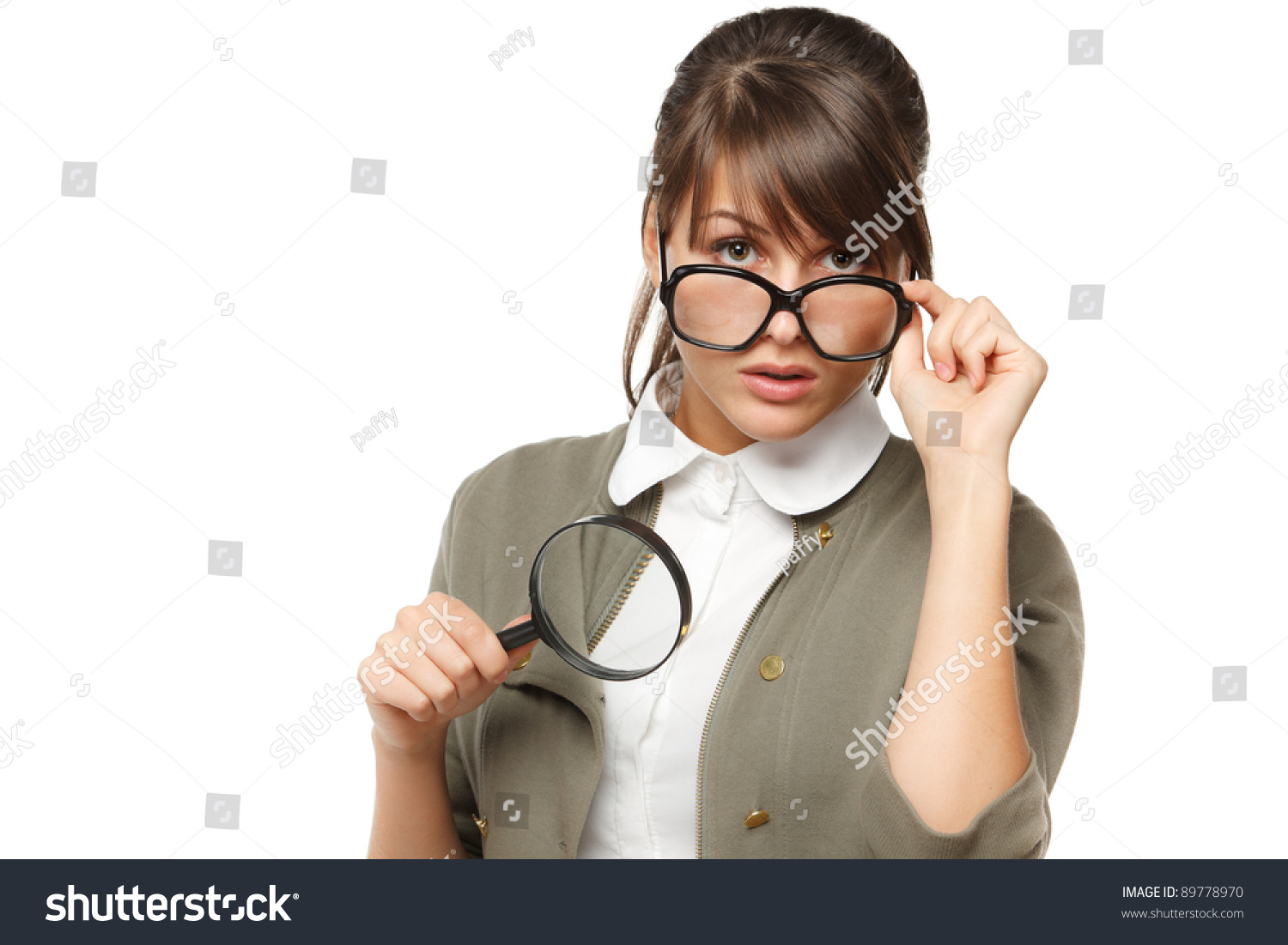 Woman Wearing Old Fashioned Eyeglasses Holding Magnifying