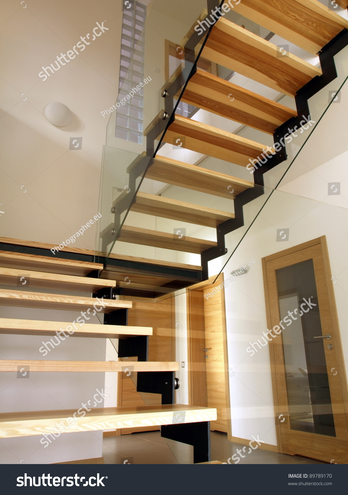 Glass Metal Wood Staircase Construction Modern Stock Photo