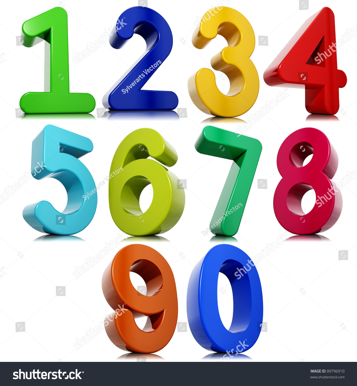 3d numbers set isolated on white background stock photo
