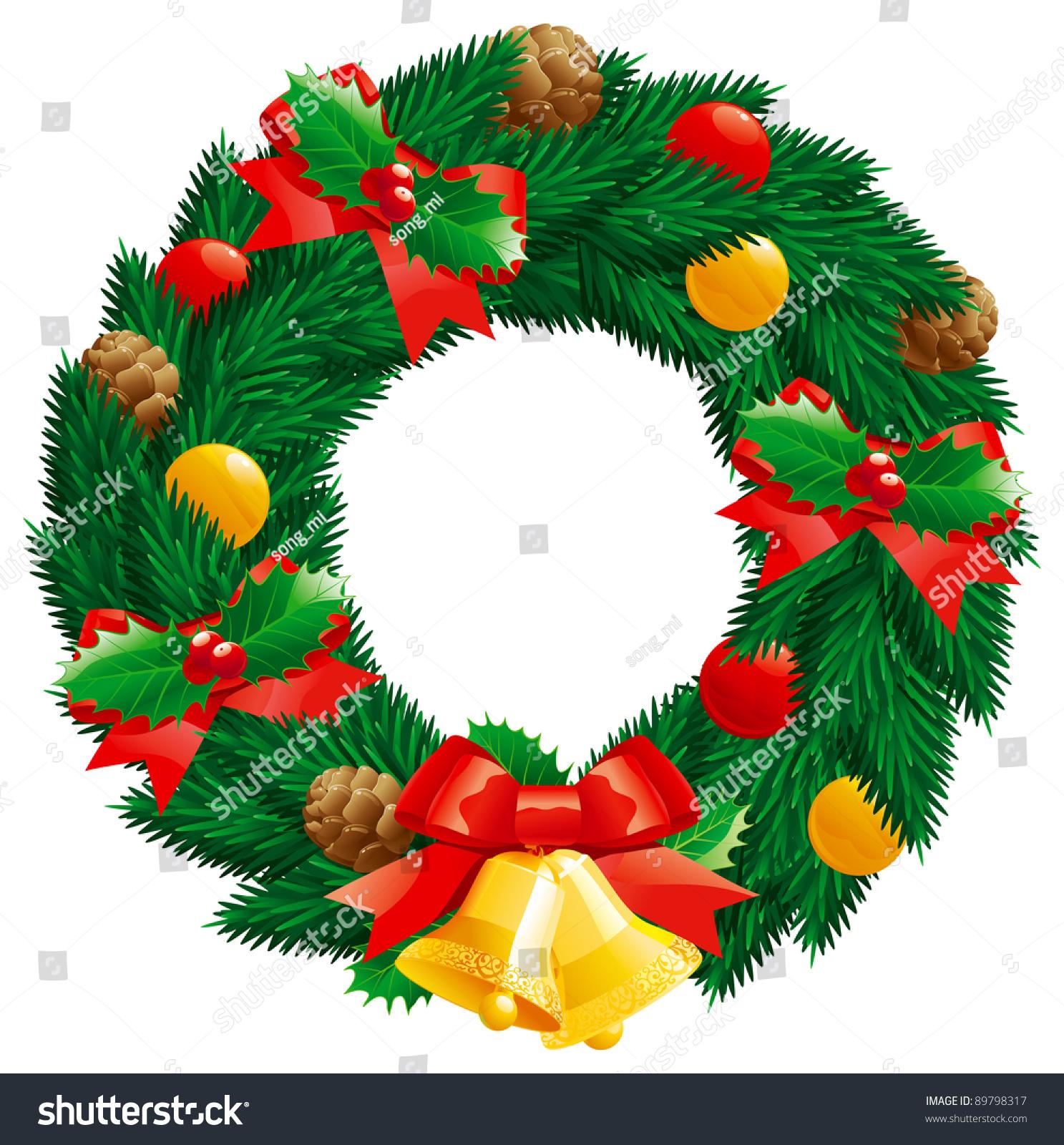 Christmas Wreath Vector Christmas Decoration Fir Stock
