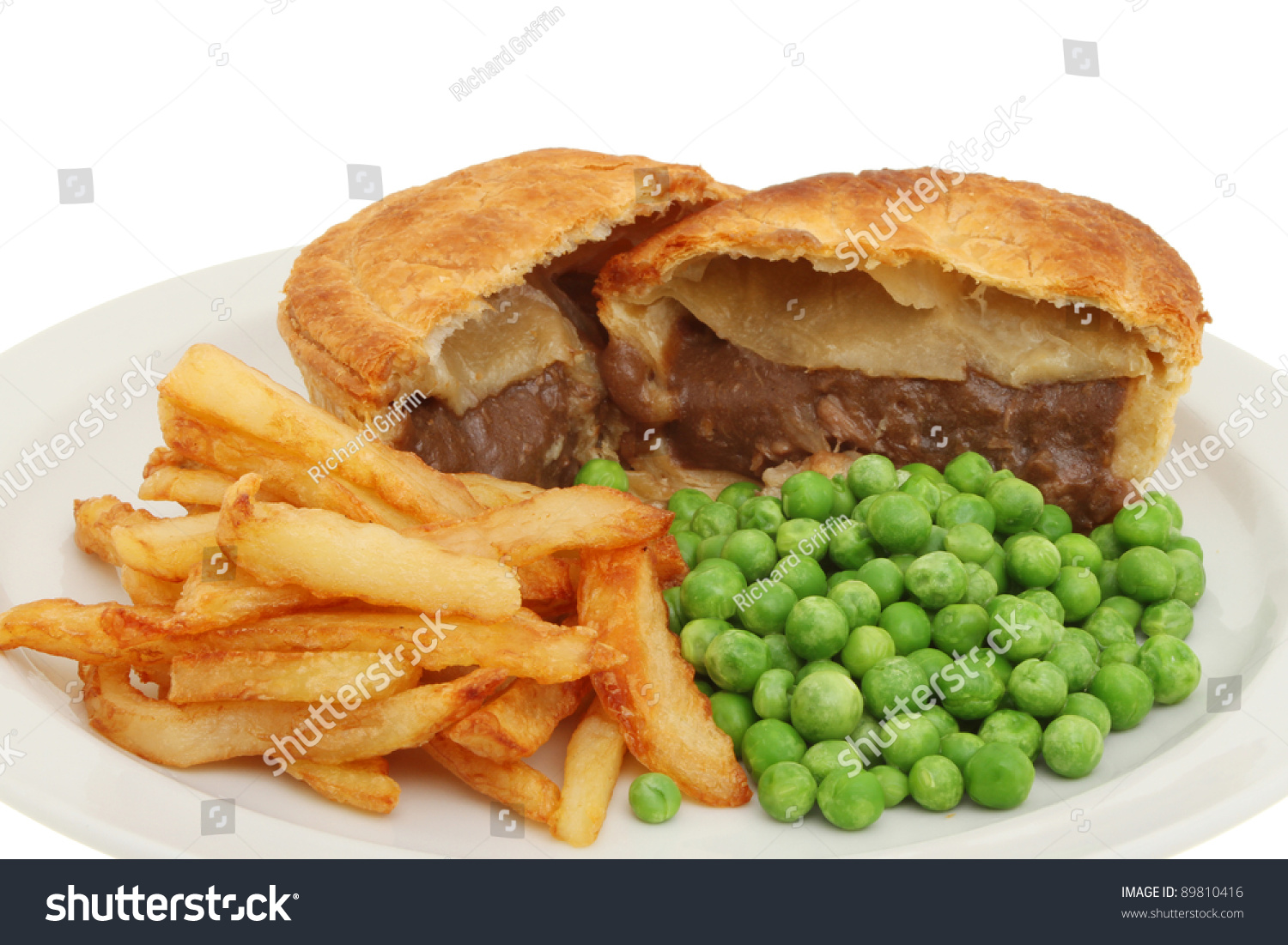 Closeup of meat pie chips and peas on a plate  sc 1 st  Shutterstock & Closeup Meat Pie Chips Peas On Stock Photo (Safe to Use) 89810416 ...