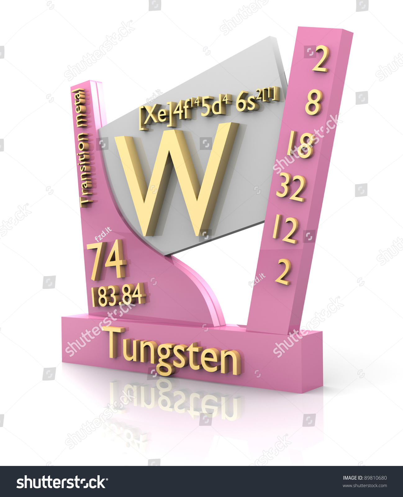 Tungsten form periodic table elements 3d stock - Tungsten symbol periodic table ...