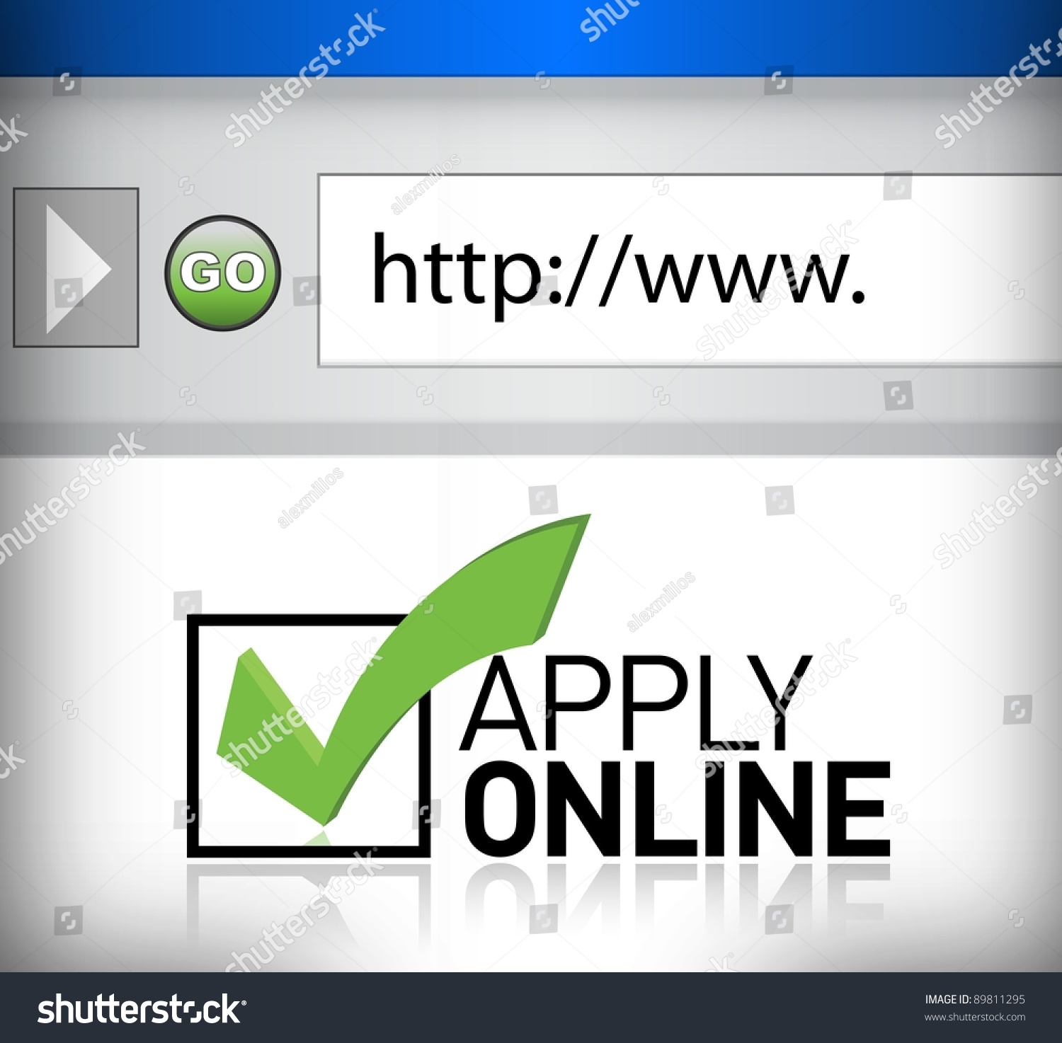 browser window shows words apply online stock illustration 89811295