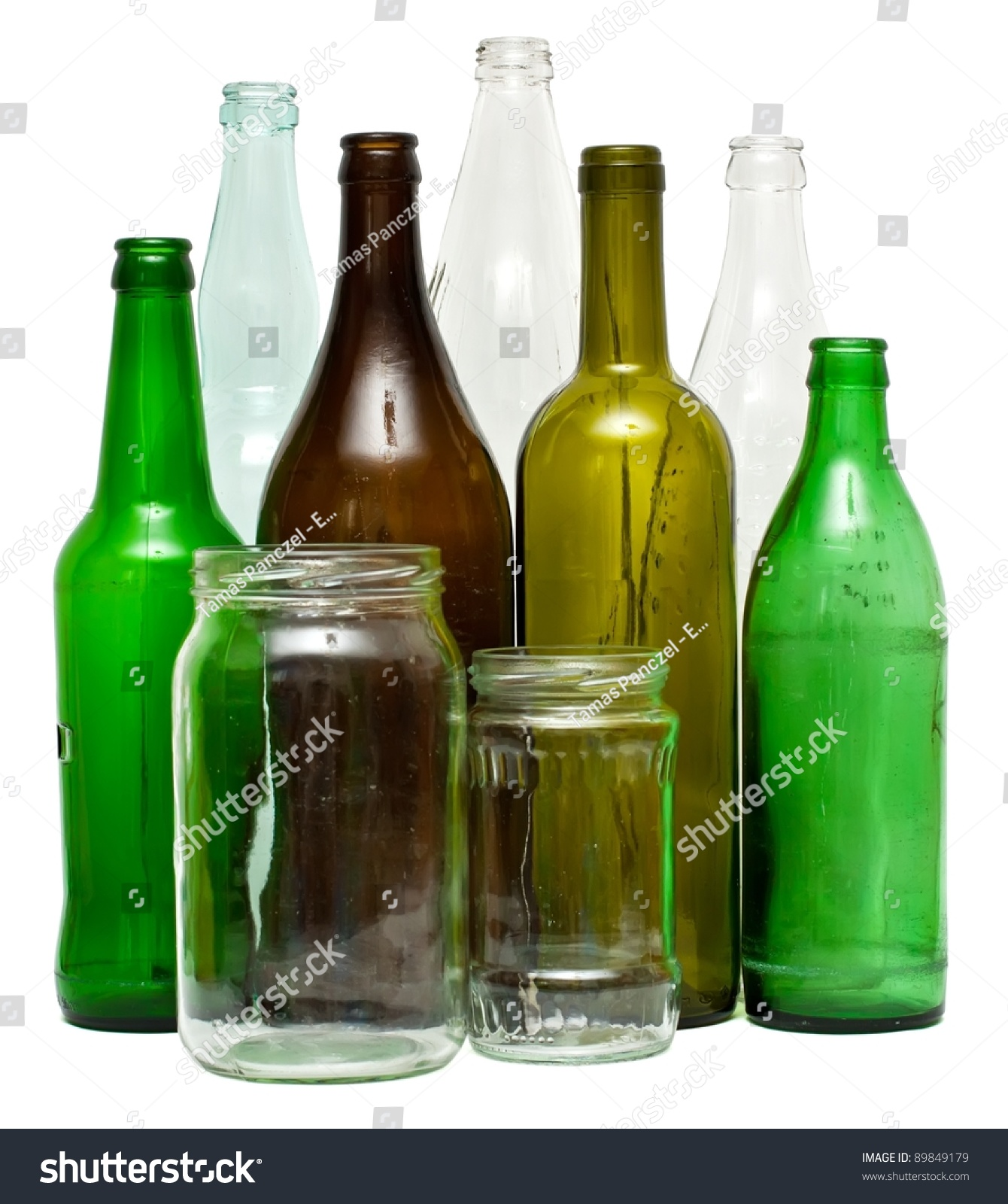 A variety of glass bottles and jars isolated on white - What to put in glass bottles ...