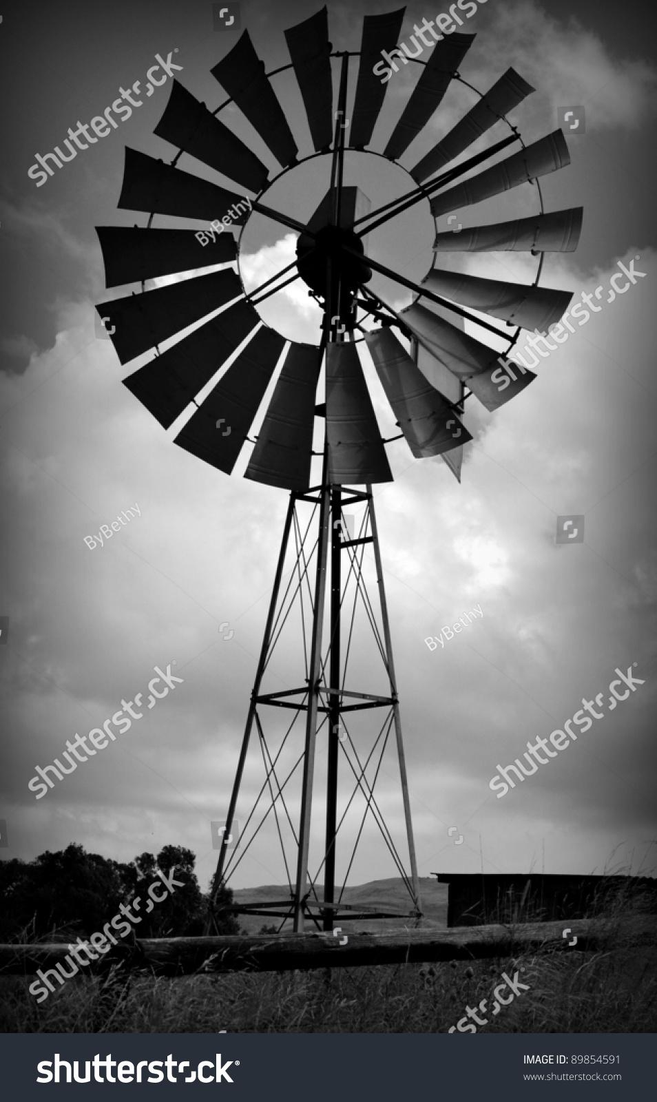 Black And White Windmill Stock Photo 89854591 Shutterstock