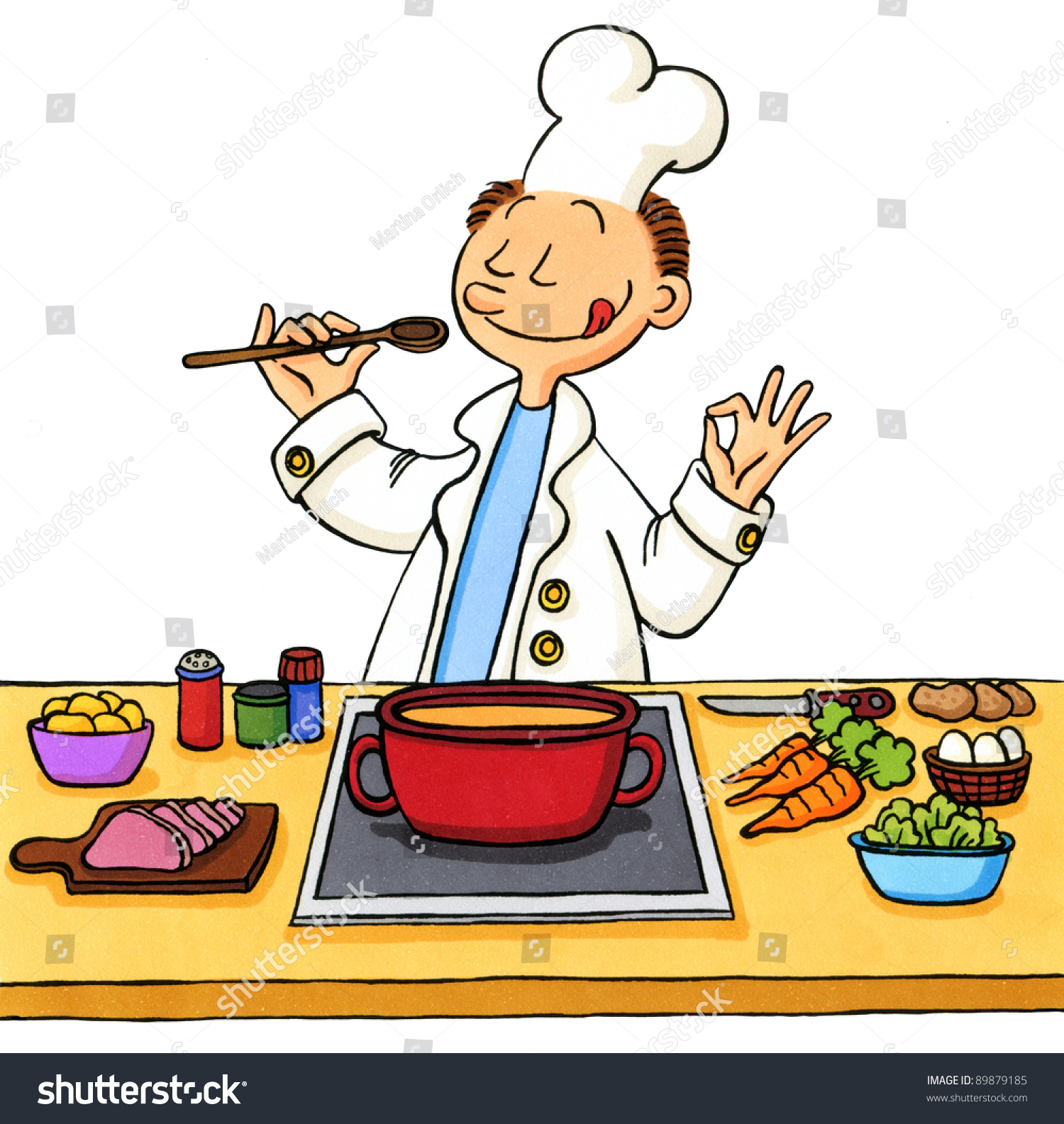 Selection of cartoons on cooking kitchens food and eating - Cartoon Of A Cook