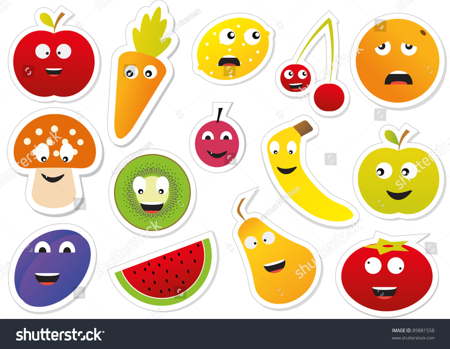 Vector food stickers 89881558 shutterstock - Stickers protection cuisine ...