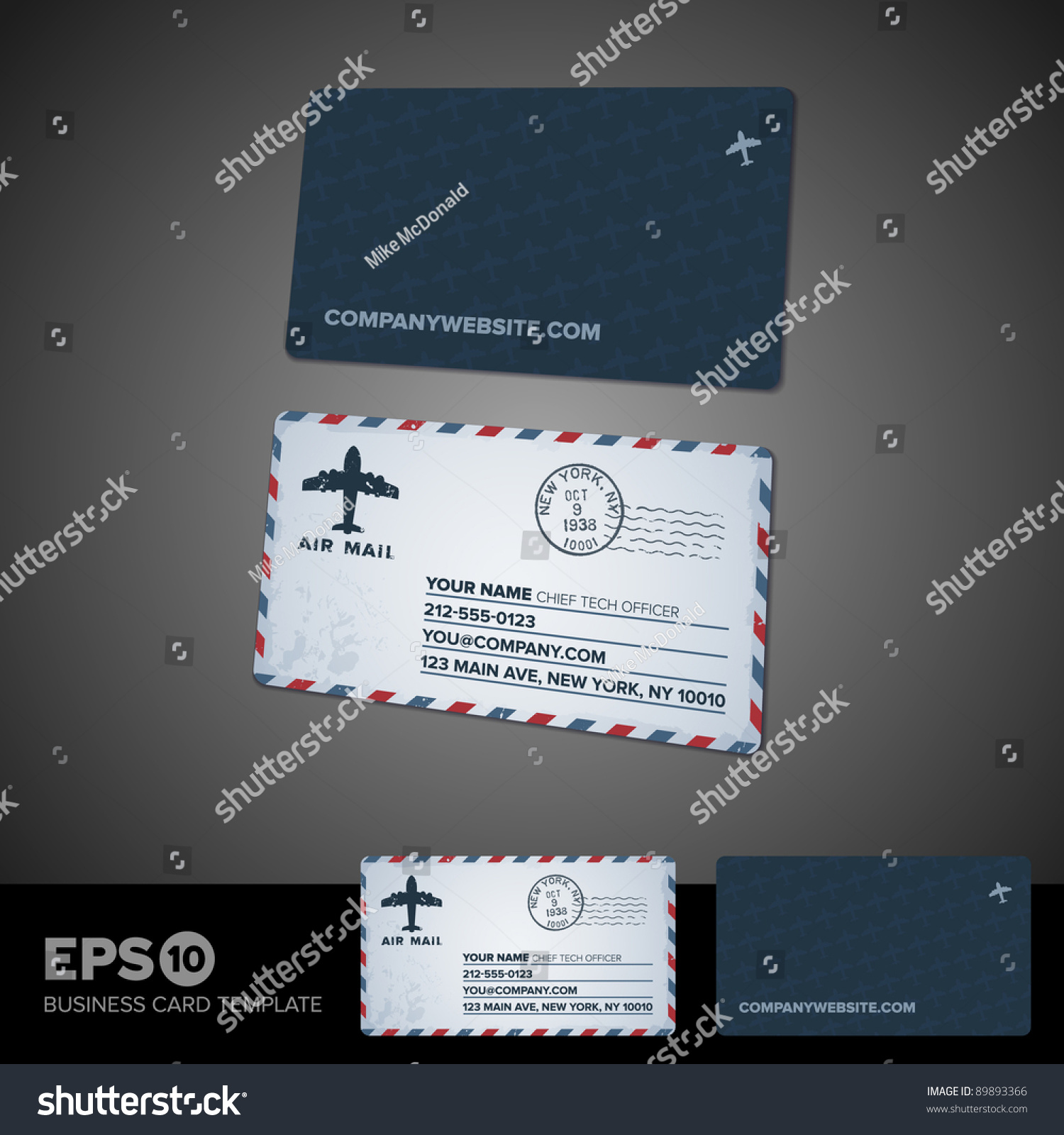 rounded corner air mail retro business stock vector