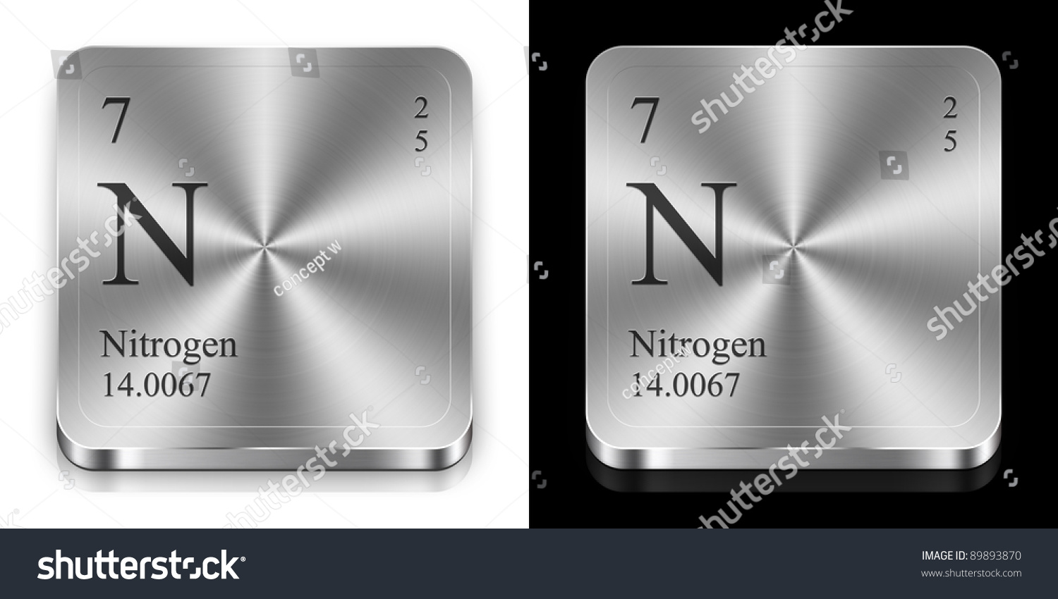 Nitrogen Element Periodic Table Two Metal Stock Illustration ...