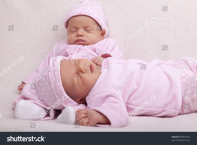 Studioshot Identical Baby Twin Girls Sleeping Stock Photo ...