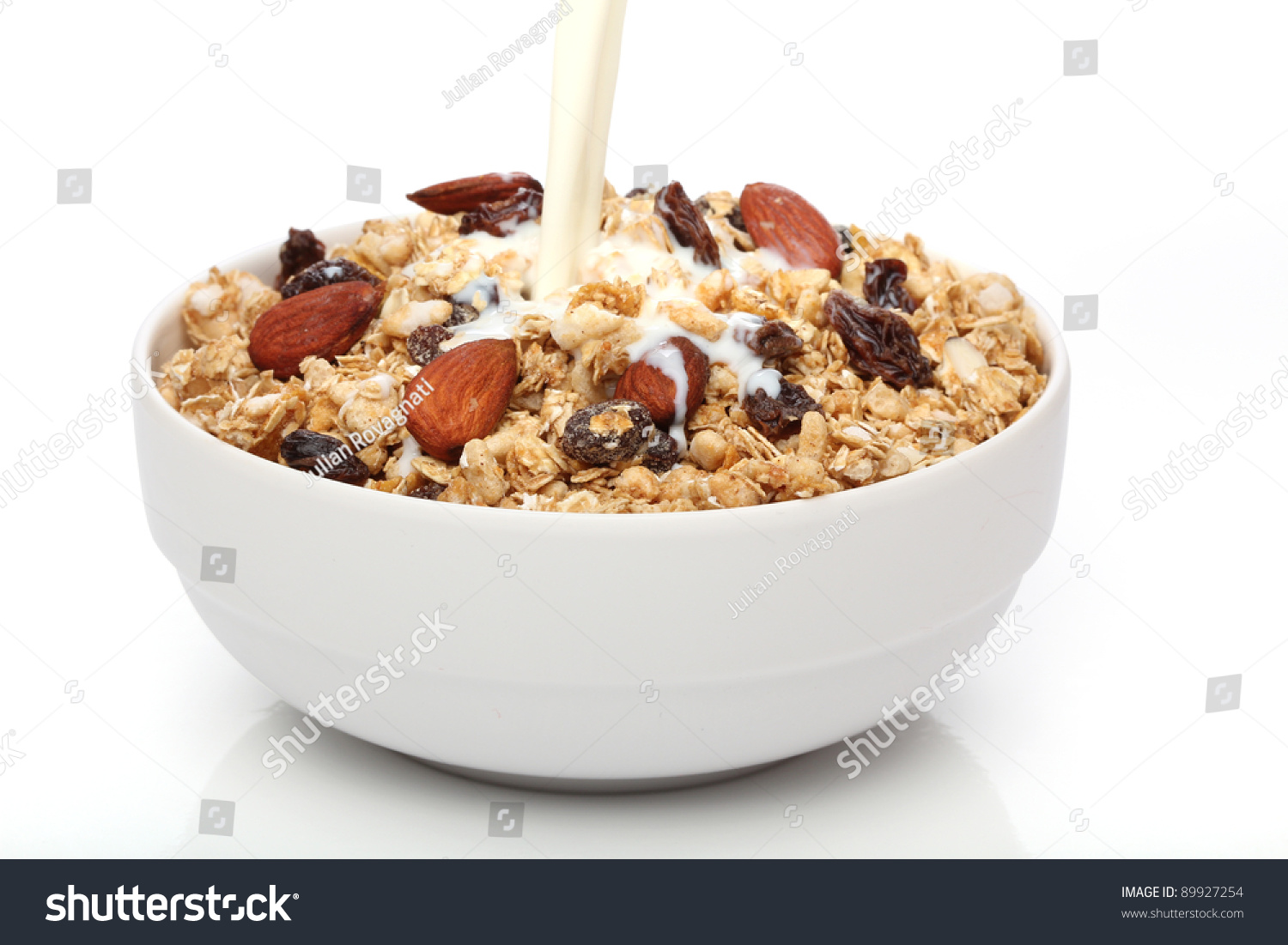 Pouring Milk Into A Bowl With Granola Cereal Stock Photo 89927254 ...