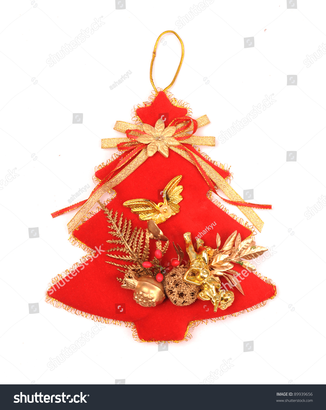 Red Christmas Tree With White Background Stock Photo ...