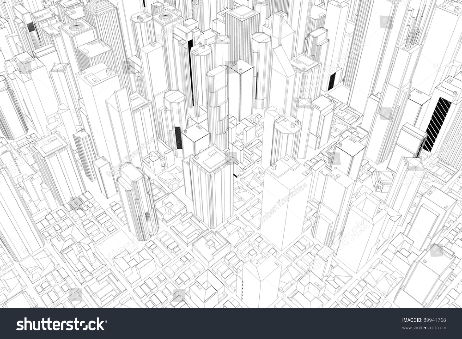 Architectural Drawings Of Skyscrapers architectural drawing city skyscrapers above stock illustration