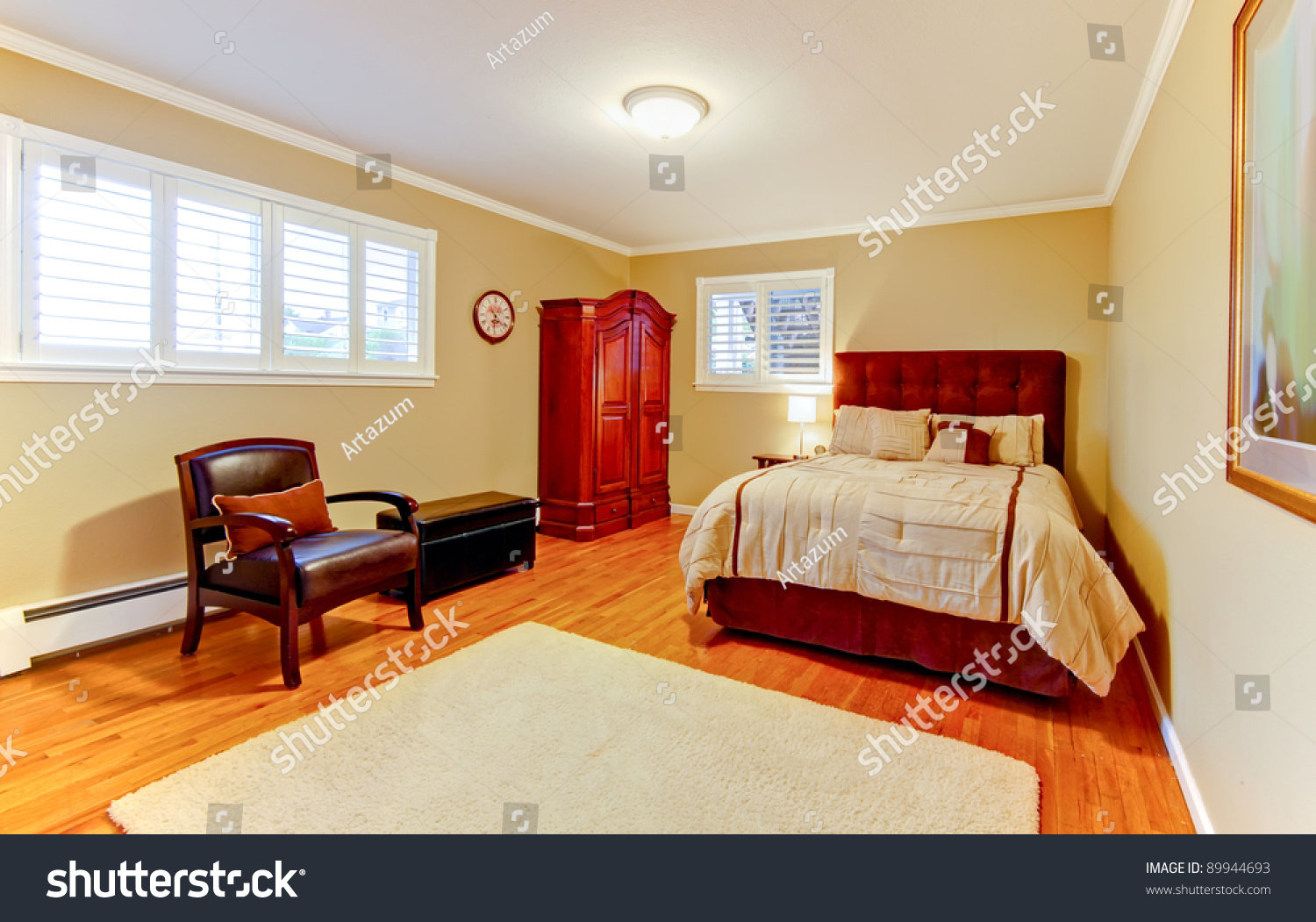 Large nice yellow beige bedroom design interior stock for Yellow bedroom interior design