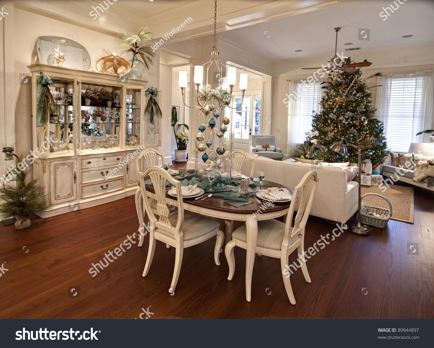luxury apartment decorated for christmas with table set. Black Bedroom Furniture Sets. Home Design Ideas