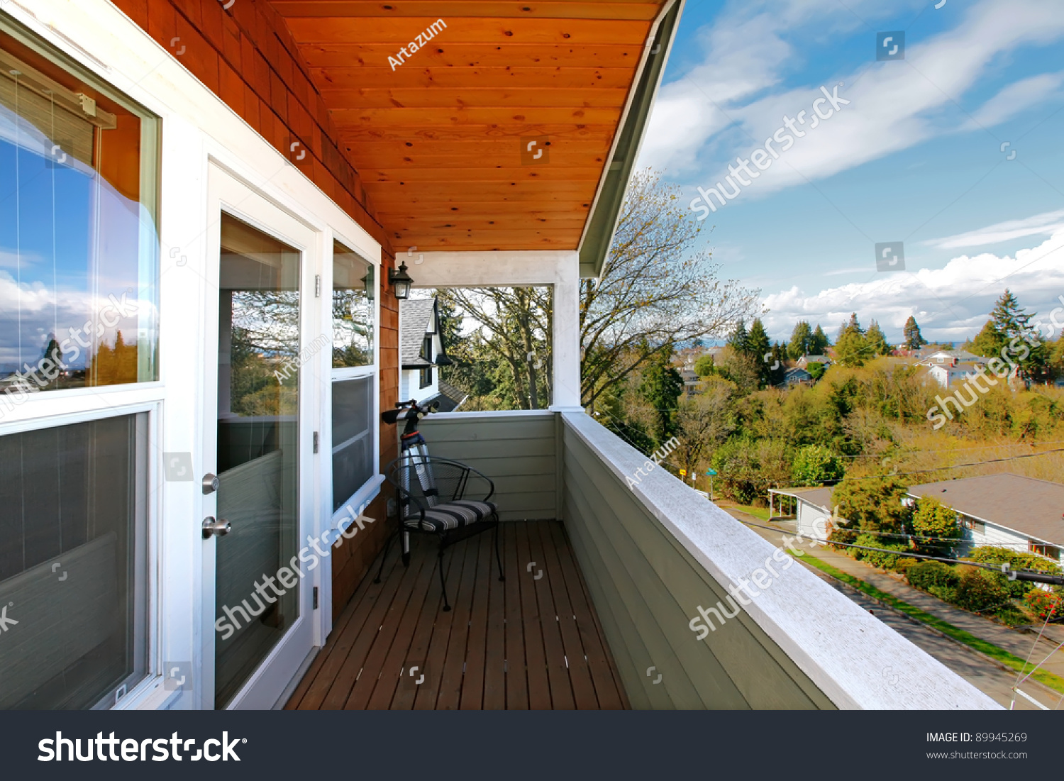 Home with covered balcony with wood ceiling and view of seattle 39 s neighborhood stock photo - Houses with covered balconies ...