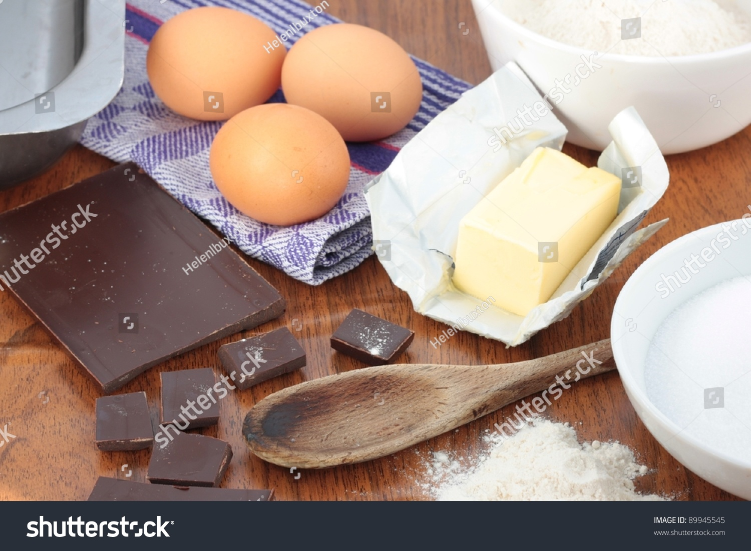 Ingredients For Baking A Chocolate Cake Or Chocolate
