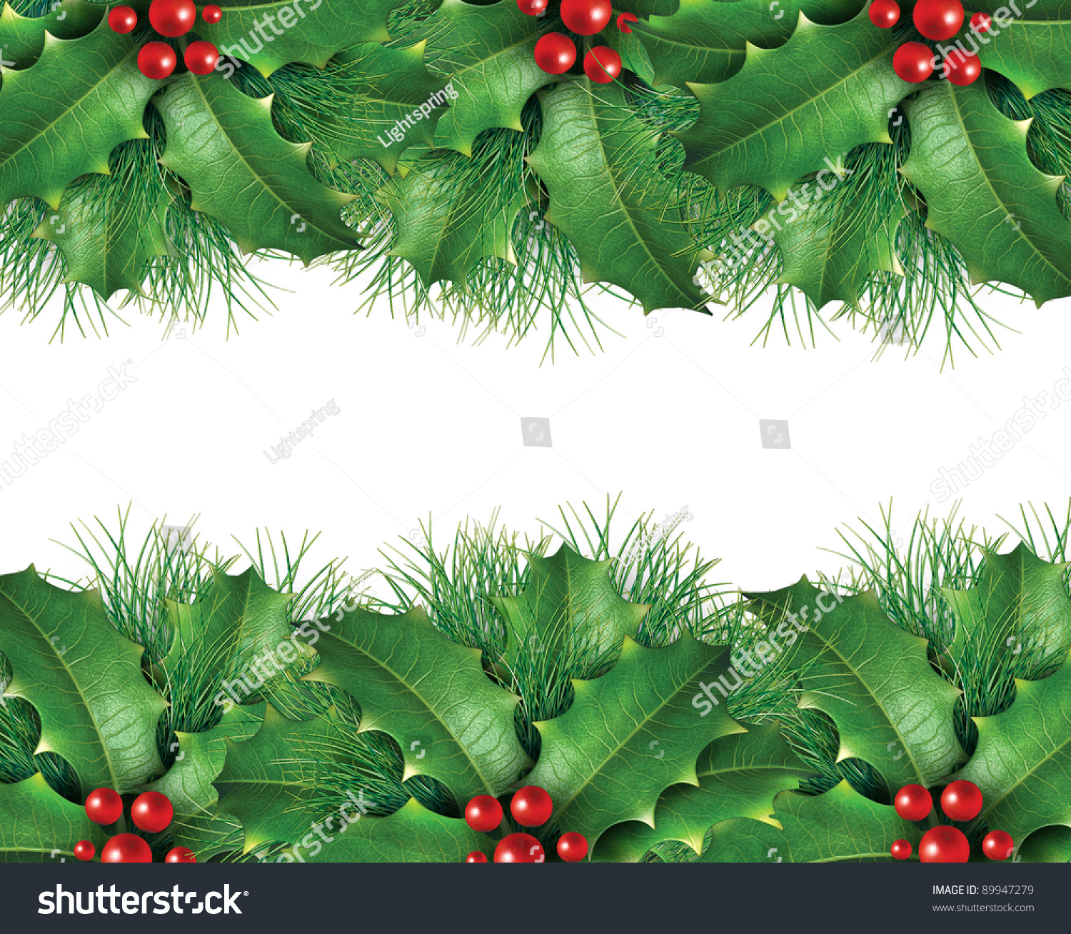 Christmas Background Image Wreath Holly Leaves Stock Illustration ...
