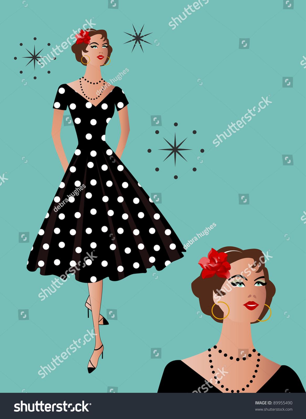 Black dress retro - Black Polka Dot Retro Dress
