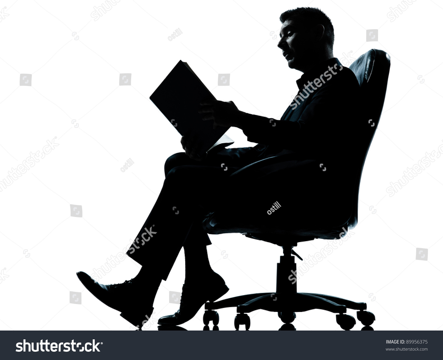 One Caucasian Business Man Sitting Armchair Stock Photo ...