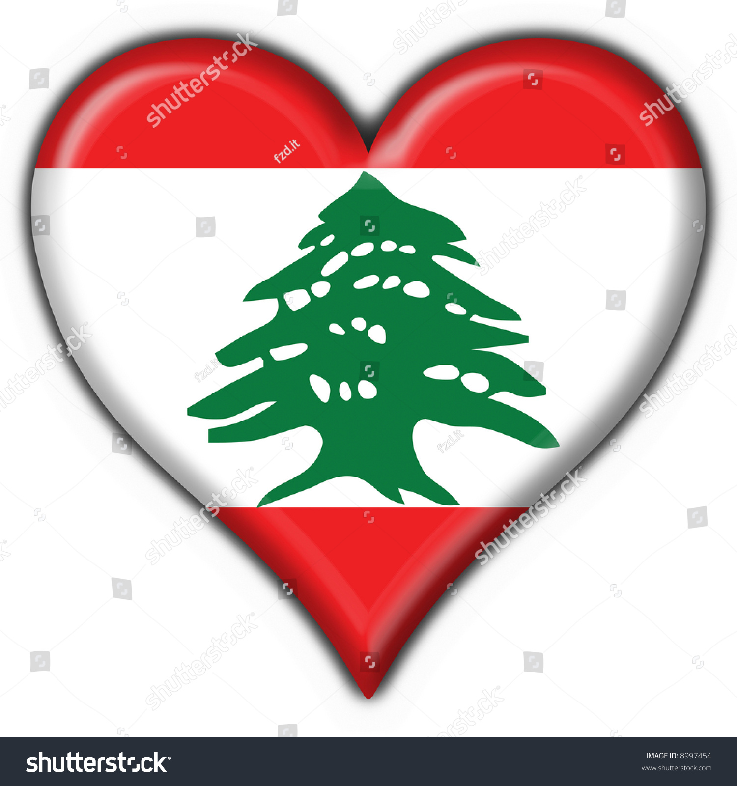 lebanon button flag heart shape stock illustration 8997454