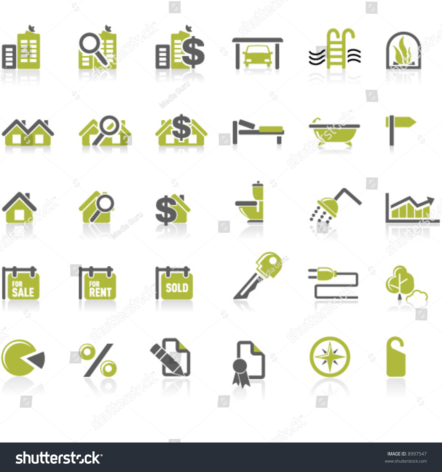 real estate icon set stock vector illustration 8997547