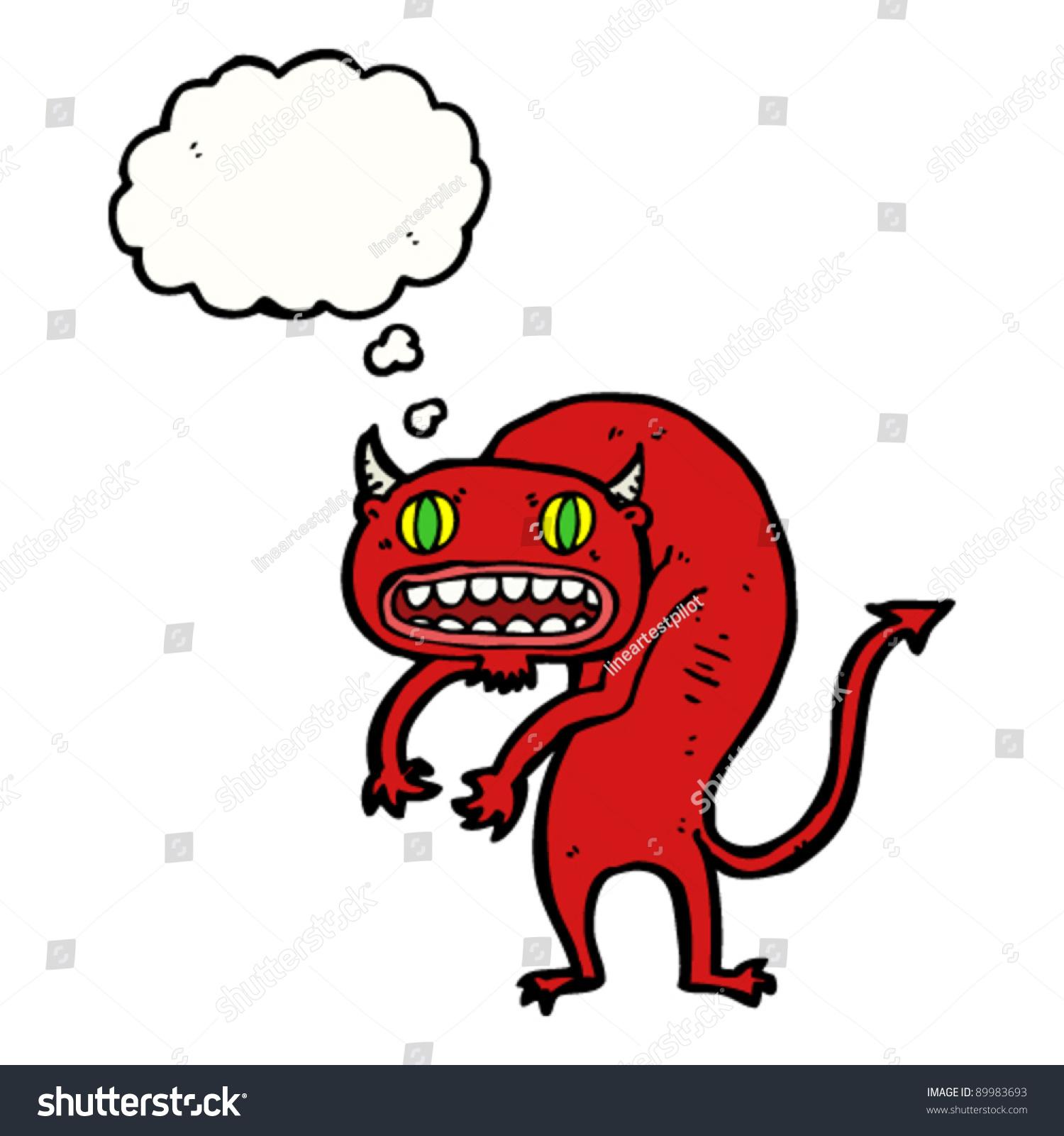 Scary Red Devil Cartoon Stock Vector Illustration 89983693 ...