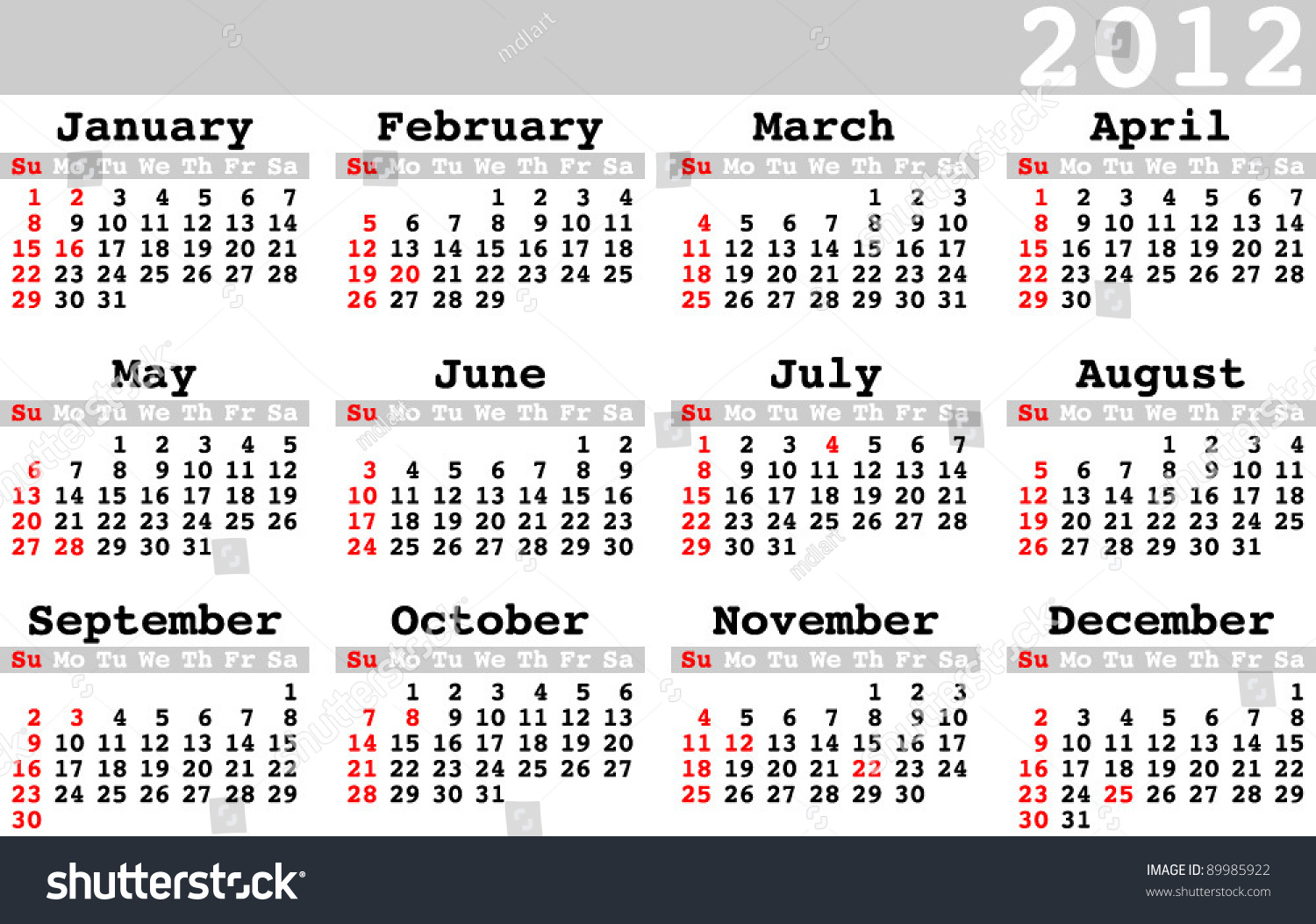 Calendar 2012 With Holidays