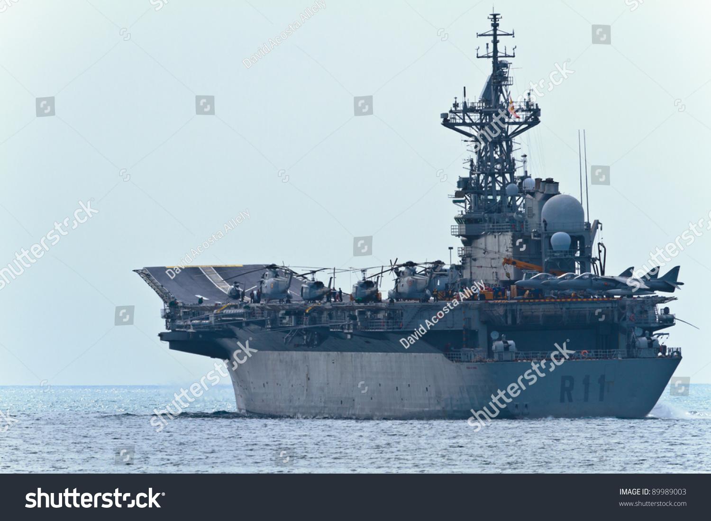 Malaga, Spain-May 28: Aircraft Carrier Principe De ...Spanish Aircraft Carrier Principe De Asturias