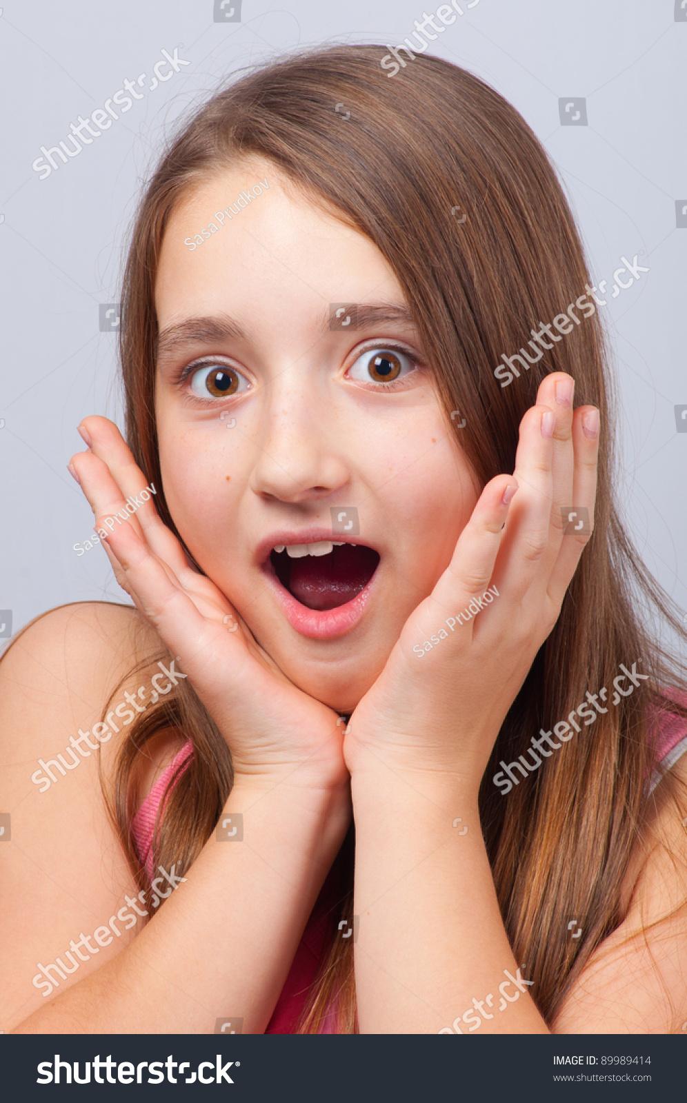 beautiful girl shocked look
