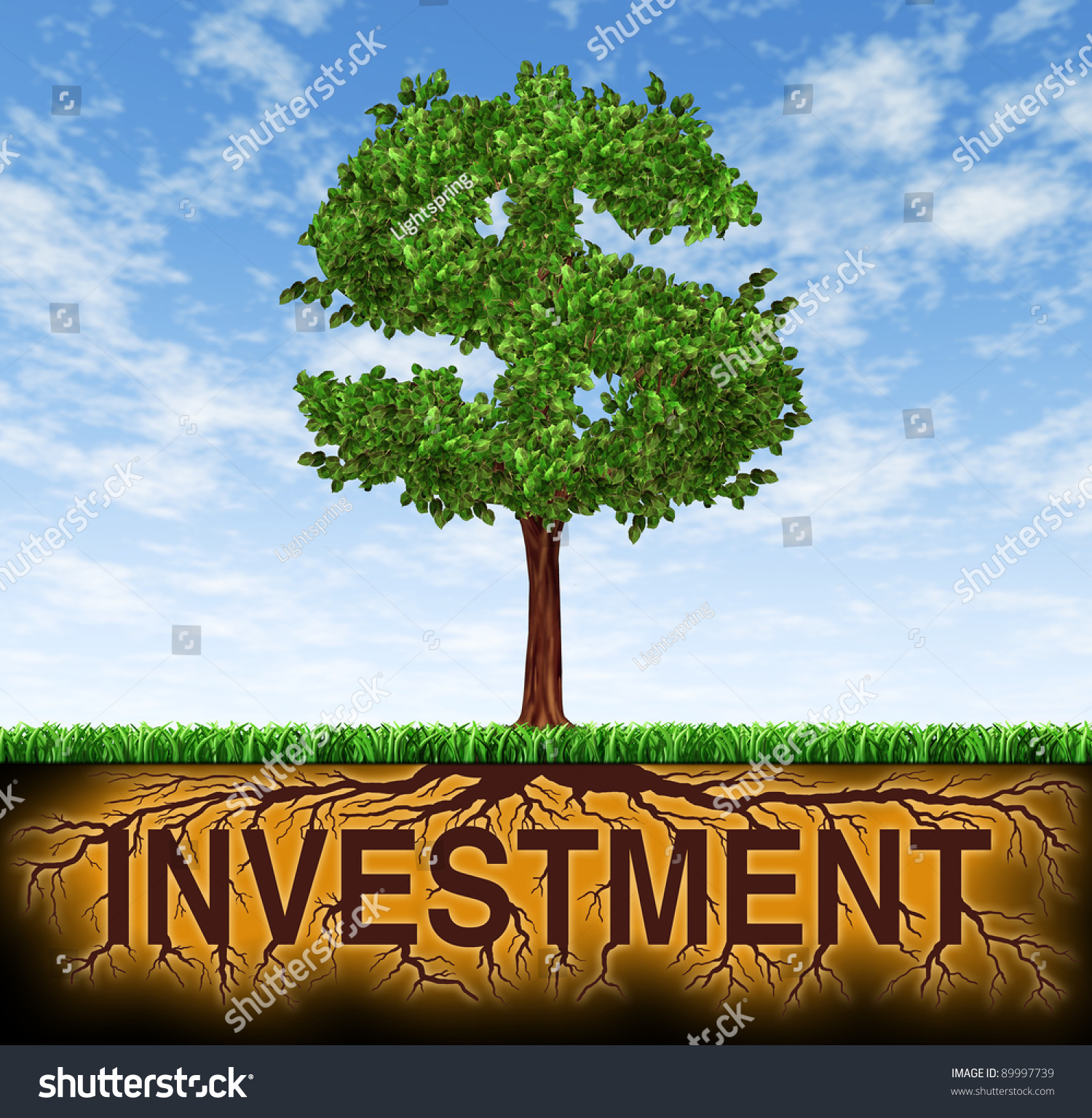 Finance Tree: Investment And Financial Growth Symbol With A Tree In The