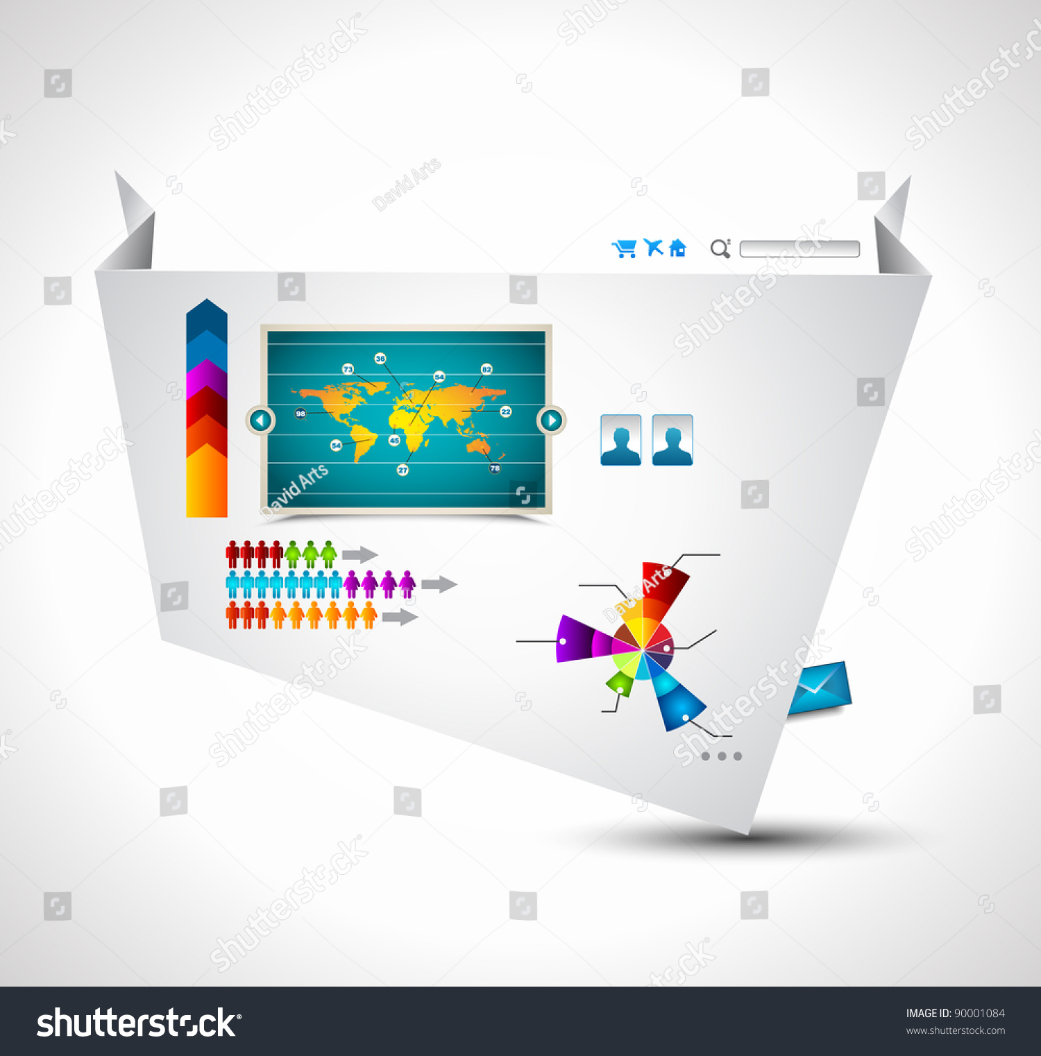 Complex Origami Website Elegant Design Business Stock Illustration Diagrams For Presentations Template With A Lot Of