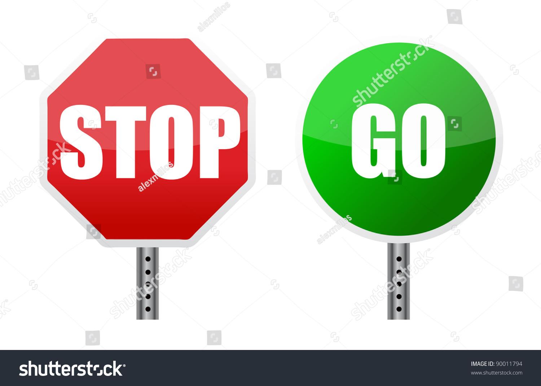 stop go sign illustrations over white stock illustration 90011794 shutterstock. Black Bedroom Furniture Sets. Home Design Ideas