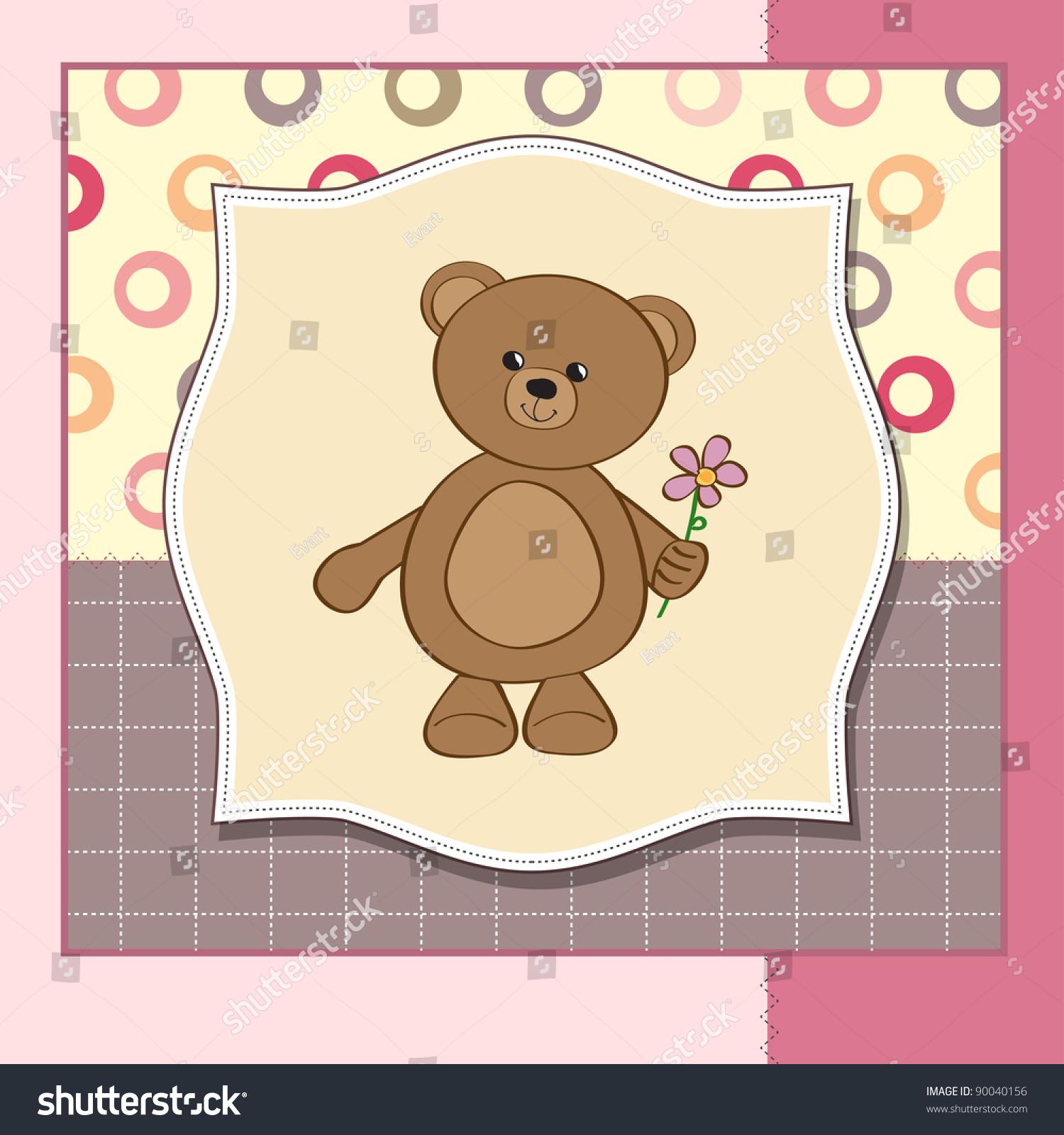 Happy Birthday Card With Teddy Bear And Flower Ez Canvas