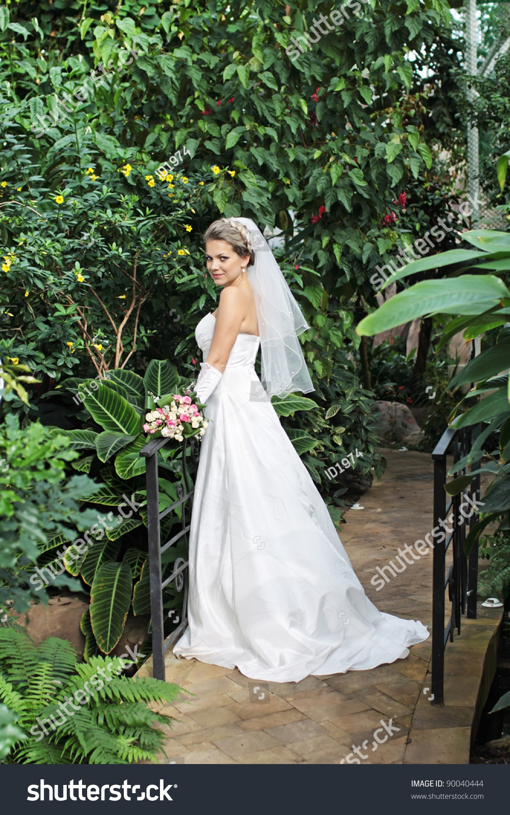 Young Girl White Wedding Dress Standing Stock Photo (100% Legal ...