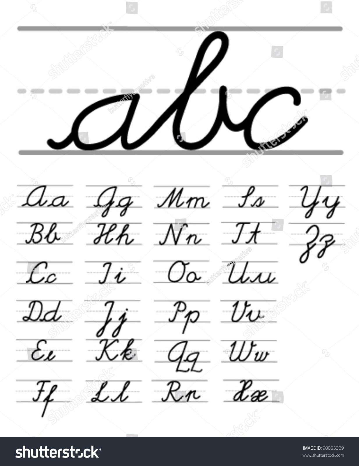 Worksheet Alphabet Handwriting vector handwriting alphabet stock 90055309 shutterstock alphabet