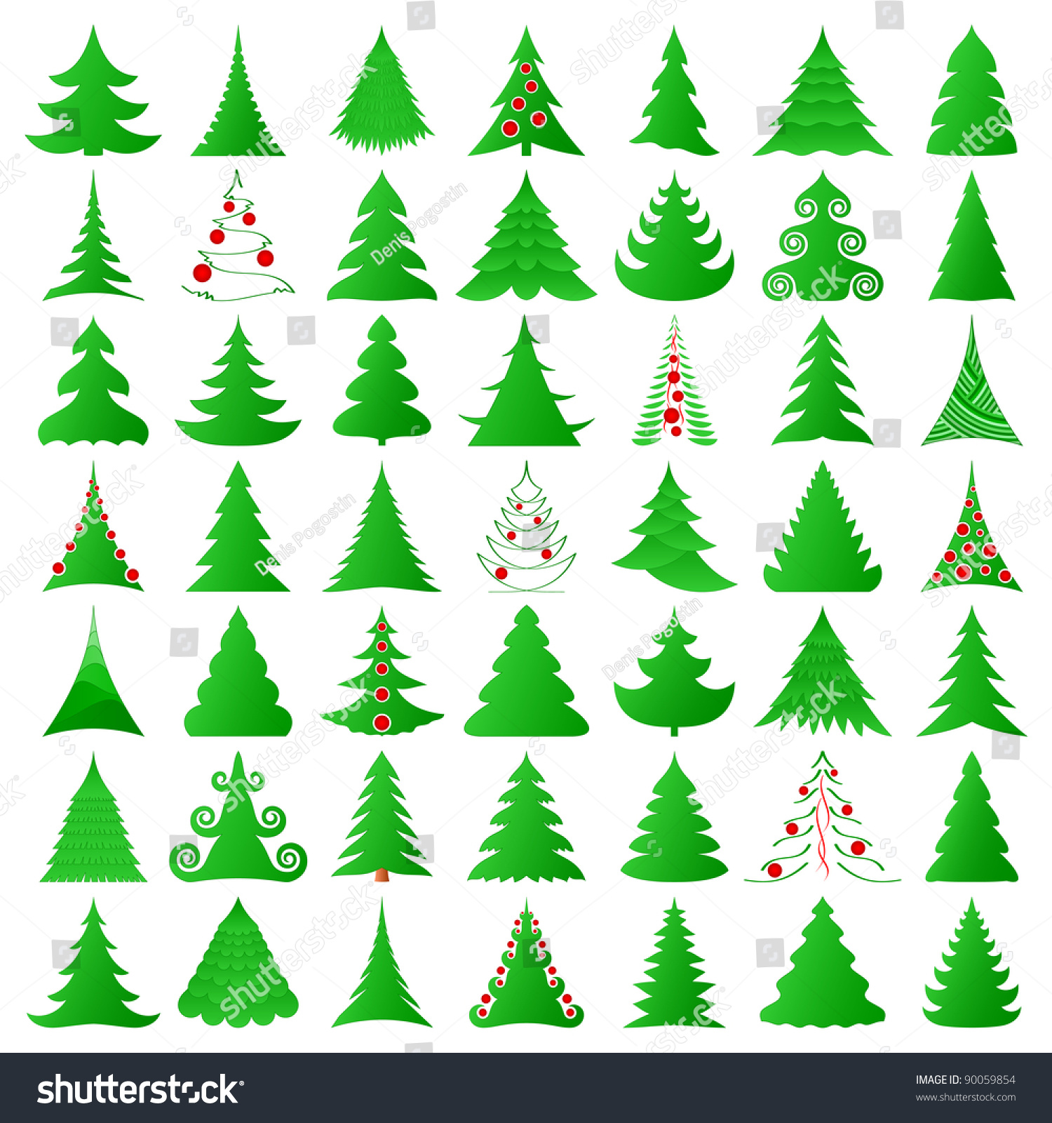 Symbolic Christmas Trees Collection Stock Vector 90059854 Shutterstock
