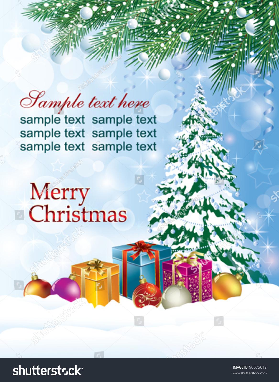 Christmas greeting card christmas tree present stock vector christmas greeting card with christmas tree and present box kristyandbryce Choice Image